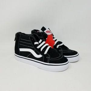 Vans Sk8-Hi Zip Black White Sneakers Toddler's 10
